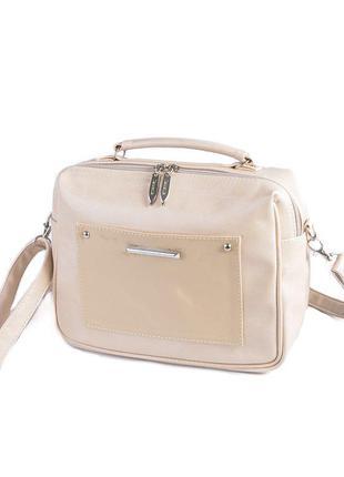 Молочная маленькая сумочка женская через плечо мини сумка кросс боди клатч на молнии