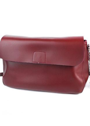 Бордовая женская сумочка кросс боди через плечо молодежная мини сумка клатч