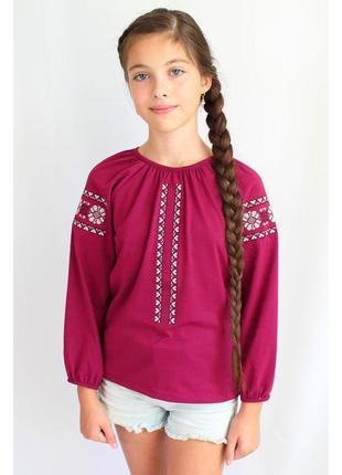 Чудова яскрава трикотажна вишиванка для дівчинки яркая трикотажная вышиванка