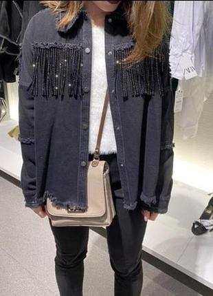Рубашка бахрома , рубашка бахрома zara, джинсовая куртка zara