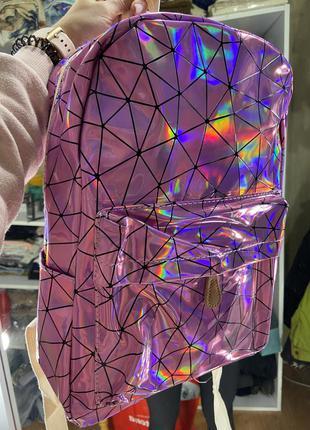 Голографический рюкзак грани розовый лаковый блестящий портфель сумка