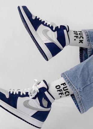 Air jordan 1 retro navy blue white женские кроссовки найк аир джордан наложенный платёж купить