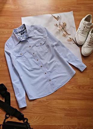 Женская натуральная голубая брендовая рубашка в полоску f&f - размер 48