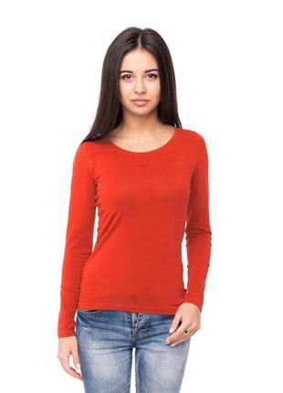 Футболка червона жіноча з довгим рукавом