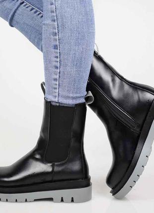 Демисезонные чёрные ботинки челси эко кожа🌹
