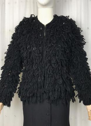 Чёрный пушистый кардиган пушистая кофта шубка вязаная