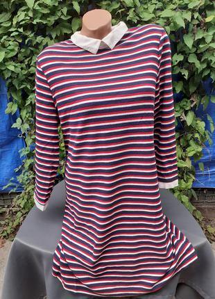 Платье теплое деми демисезонное осень осеннее трикотажное трикотаж полоску полосочку