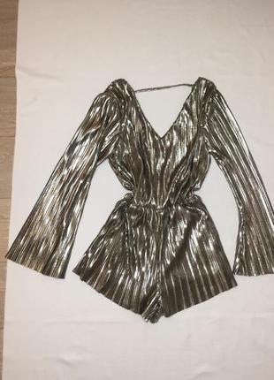 Блестящий ромпер комбинезон шорты серебро металлик