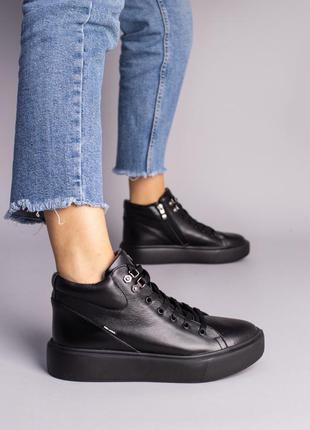 Кожаные черные спортивные деми ботинки