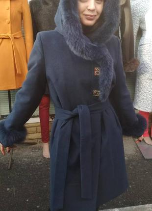 Зимнее пальто с мехом песца grislav