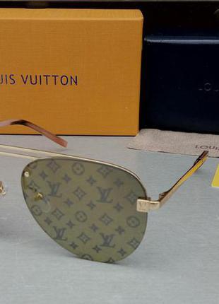 Louis vuitton стильные женские солнцезащитные очки золотистые зеркальные с логотипом бренда в золотом металле