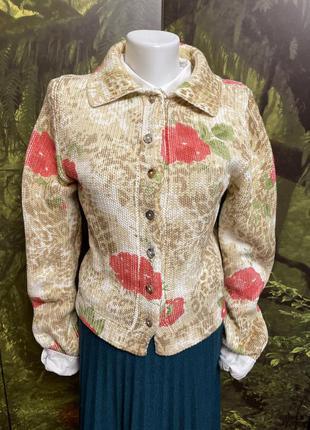 Винтажная dirocco вязаная хлопковая кофточка в цветочный принт кардиган жакет пиджак кофта