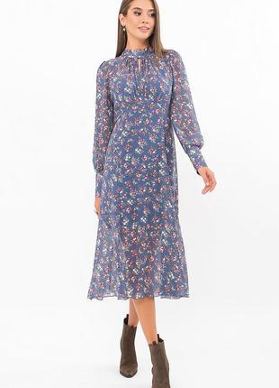 Женское шифоновое платье миди с длинным рукавом в джинсовом синем цвете в цветочный принт розы