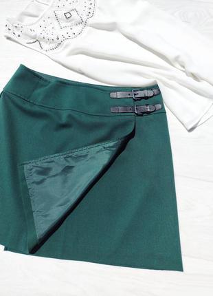 Короткая тёмно-бирюзовая юбка h&m