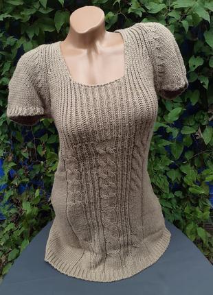 Вязаное платье вязка крупная косичка косы коса мокко мини теплое деми осень