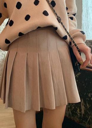 Трендовые юбки плиссе🤩 костюмная ткань, подкладка шортиками 🌈 чёрные, белые, беж, серые  〰️арт. 350 🔻размеры: м-42, l-44, длина 36см