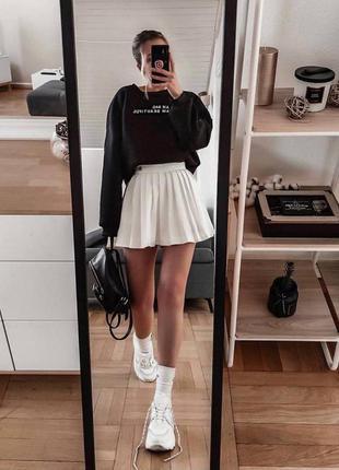 Трендовые юбки плиссе🤩 костюмная ткань, подкладка шортиками 🌈 чёрные, белые, беж, серые