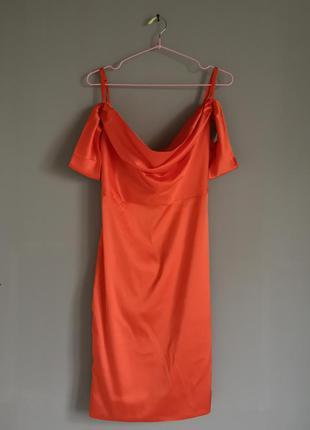 Платье нарядное мини двухбортная ткань вечернее оранж