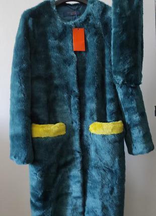 Новое меховое пальто trussardi шуба color block чебурашка