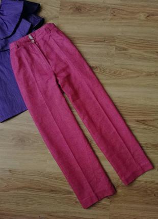 Классические прямые брюки штаны класичні прямі штани лляные лляні из льна рожеві розовые з льону