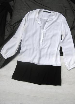 Чёрно белая комбинированная полупрозрачная блуза туника zara