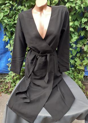 Платье теплое деми демисезонное осень осеннее на запах с поясом халат декольте