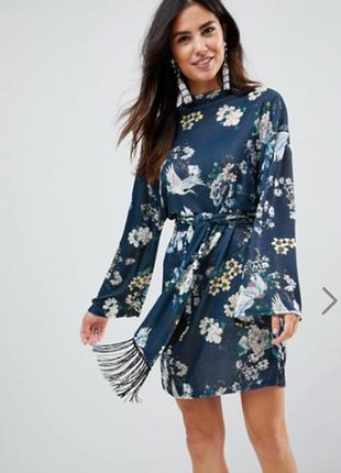 Платье шикарное эластичное в цветы под пояс asos uk 8/36/xs