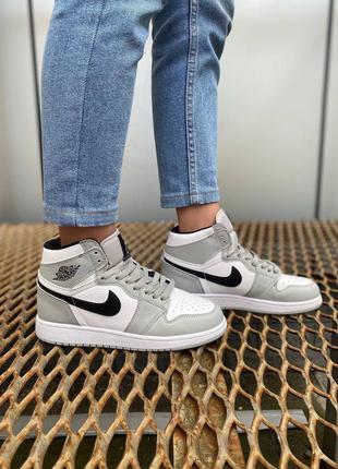 Nike jordan 1 retro grey 🍏 стильные женские мужские кроссовки найк джордани
