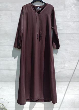 Длинное платье абая с рукавом тёмно коричнево бордовое в восточном стиле