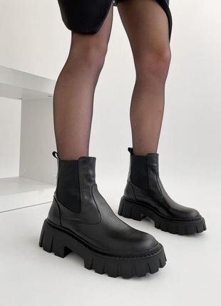 Ботинки челси из натуральной кожи женские чёрные