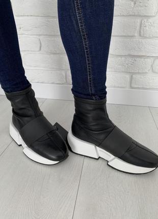 Кожаные кроссовки preppy