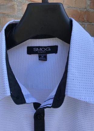 Стильная деловая мужская рубашка в мелкую точку от smog slim fit