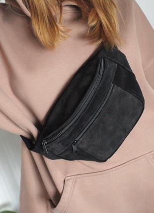 Большая бананка кожа сумка на пояс из натурального черного замша  слинг шкіра б16