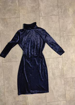 Бархатное платье дизайнерское велюр мраморно синие