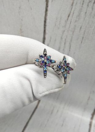 Серьги гвоздики серебро 925 звезды звездочки