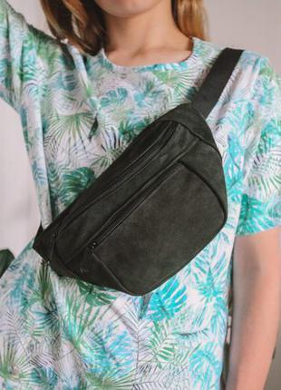 Большая бананка кожа сумка на пояс из натурального зеленого замша слинг шкіра б13