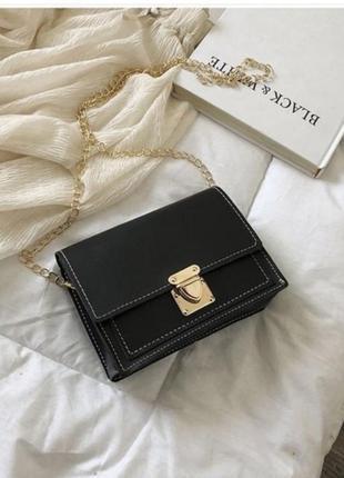 Минималистичная черная лаконичная сумка,черный клатч на цепочке