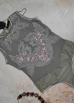 Блуза боди новая стильная украшенная паетками uk 12/40/m