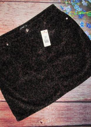 Теплая вельветовая юбка в леопардовый принт