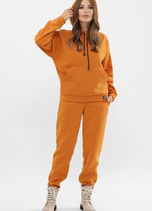 Теплый костюм с начесом худи с капюшоном с брюками 4 цвета