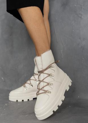 Женские ботинки натуральная кожа мех (молоко)