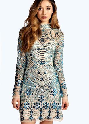 Блестящее в пайетки мини облегающее платье с рукавами, открытая спина, вышивка, сетка