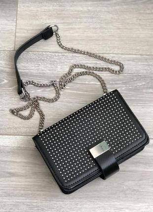 Стильная сумочка,клатч черный с цепочкой