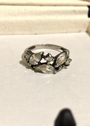 Кольцо с фианитами серебро 925 пробы