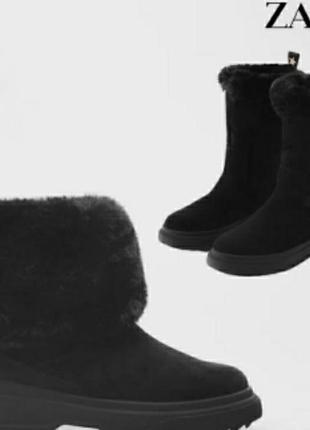 Zara новые ботинки сапоги сапожки замша ботінки испания