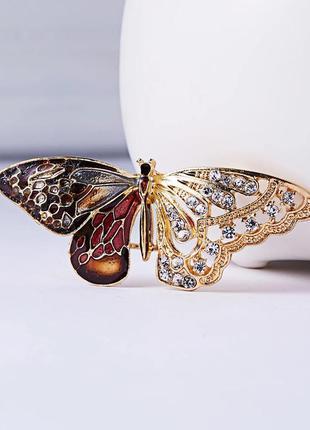 Брошка бабочка, брошь бабочка украшение на одежду