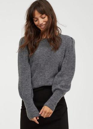Шерстяной свитер джемпер серый темно черный мохеровый