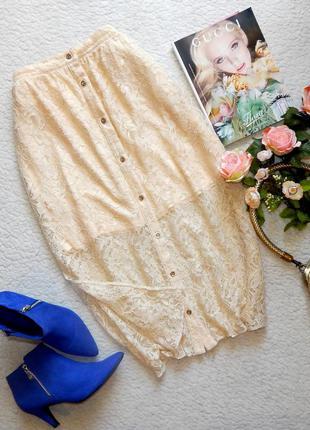 Шикарная нежная ажурная миди юбка river island с боковыми разрезами