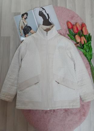 Красивая кремовая стёганая деми курточка большого размера р.xl(италия)