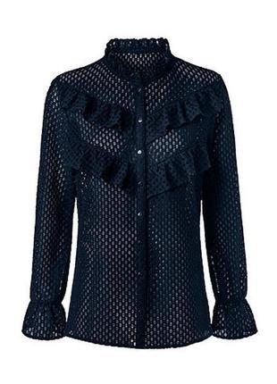 Модные вещи для пышных дам ажурная блуза синего цвета   tcm tchibo германия